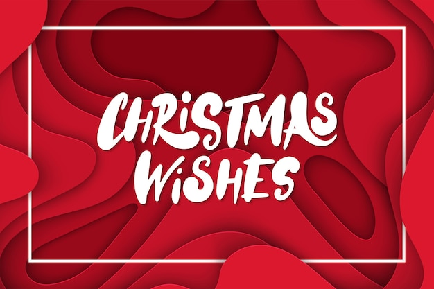 Fondo con formas de corte de papel de color rojo oscuro. letras de deseos de navidad