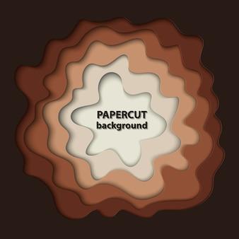 Fondo con formas de corte de papel marrón