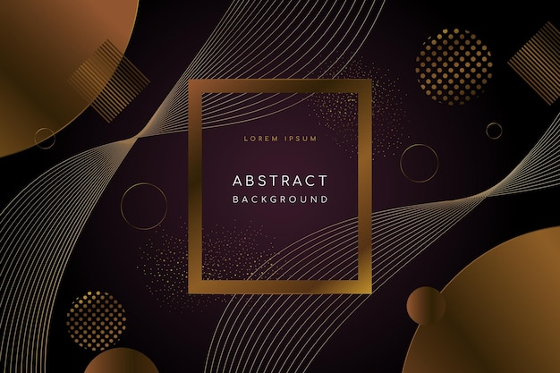 Fondo de formas geométricas abstractas negras y doradas de lujo