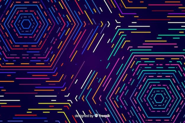 Fondo de formas geométricas coloridas en luz neón