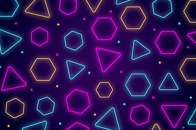 Fondo de formas geométricas y luces de neón