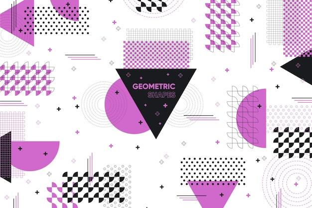 Fondo de formas geométricas planas y efecto violeta de memphis