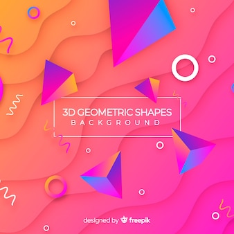 Fondo con formas geométricas tridimensionales