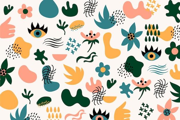 Fondo de formas orgánicas abstractas dibujadas a mano