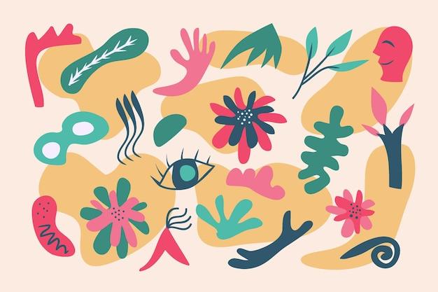 Fondo de formas orgánicas de hojas y elementos