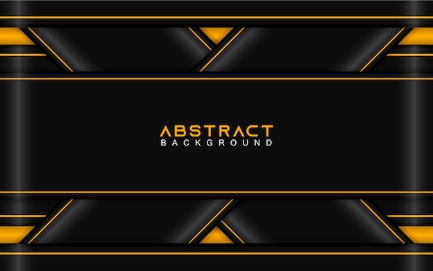 Fondo de formas de papel geométrico abstracto negro y amarillo