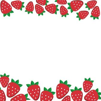 Fondo de fresas frescas en estilo plano. plantilla de diseño para comida vegetariana y menú de restaurante.