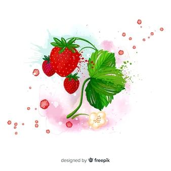 Fondo de fruta en acuarela con fresas