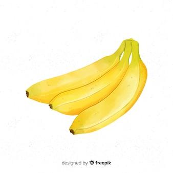 Fondo de fruta en acuarela con plátanos