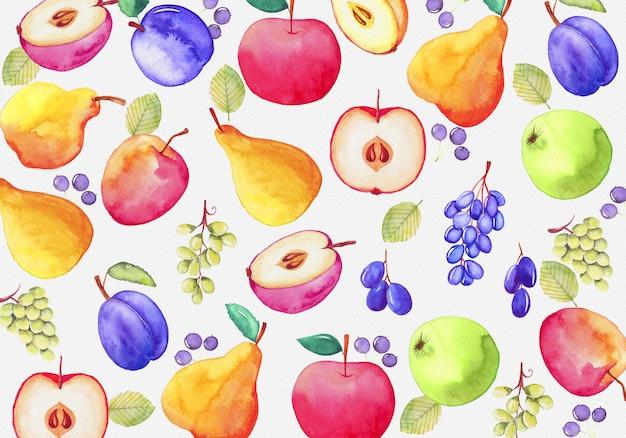 Fondo de fruta acuarela