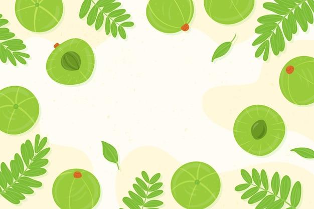 Fondo de fruta amla dibujada a mano