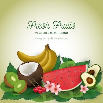 Fondo de fruta fresca en diseño realista