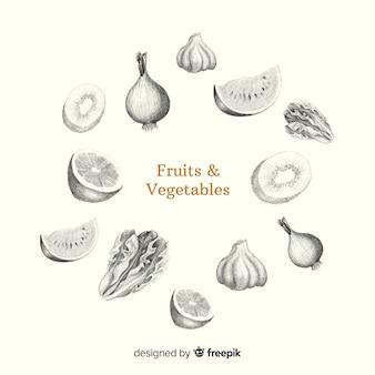 Fondo fruta y verdura sin color dibujada a mano