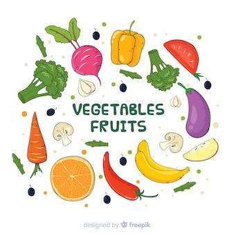 Fondo fruta y verdura fresca dibujada a mano