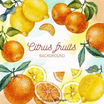 Fondo de frutas acuarela