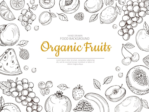 Fondo de frutas agricultor eco frutas y bayas vintage boceto cartel de comida saludable