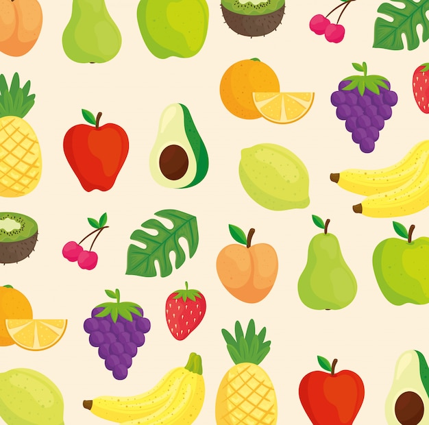 Fondo de frutas, aguacate y hojas tropicales.