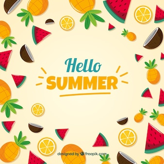 Fondo de frutas de verano deliciosas