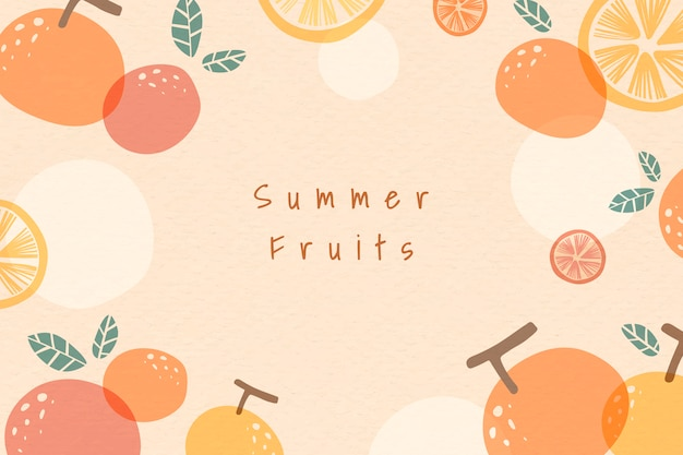 Fondo de frutas de verano con dibujos