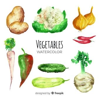Fondo de frutas y verduras en acuarela