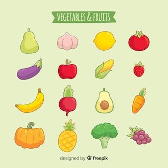 Fondo de frutas y verduras dibujadas a mano