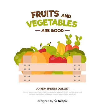 Fondo frutas y verduras dibujadas a mano