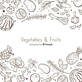 Fondo de frutas y verduras dibujado a mano