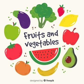 Fondo de frutas y verduras en dibujado a mano
