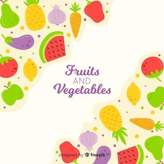 Fondo de frutas y verduras en diseño plano