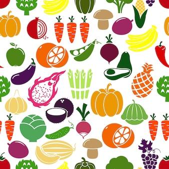 Fondo de frutas y verduras. patison y rábano, berenjena y granada, guisantes y repollo. ilustración vectorial