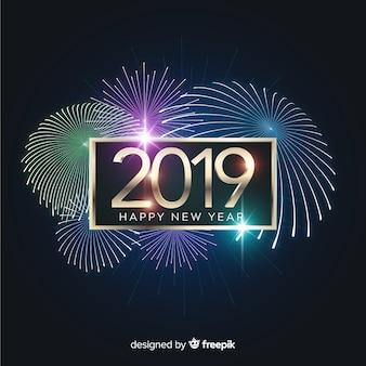 Fondo fuegos artificiales año nuevo 2019