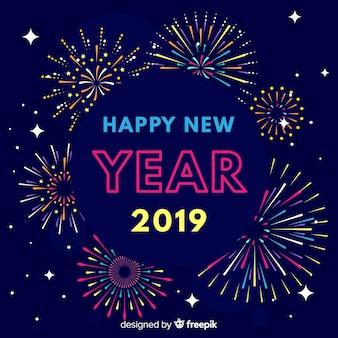 Fondo de fuegos artificiales de año nuevo 2019
