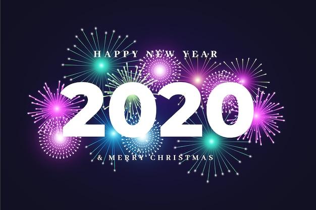 Fondo de fuegos artificiales año nuevo 2020