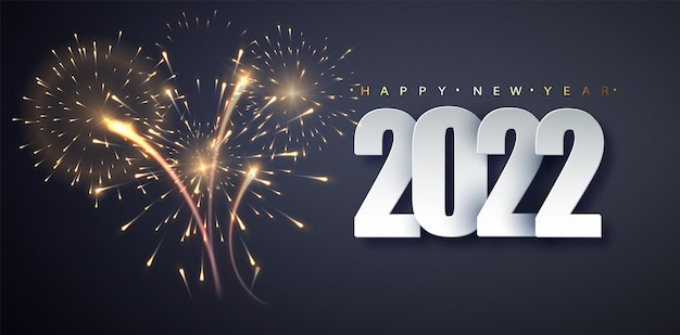 Fondo de fuegos artificiales de año nuevo 2022. concepto de decoración navideña, tarjeta, póster, pancarta, folleto.