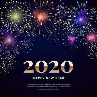 Fondo de fuegos artificiales de año nuevo