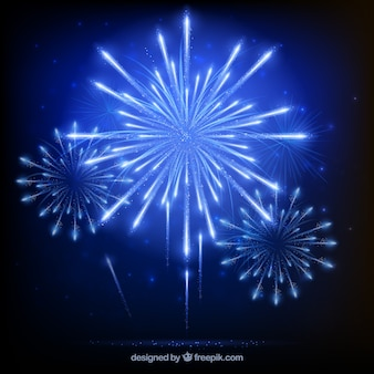 Fondo con fuegos artificiales azules