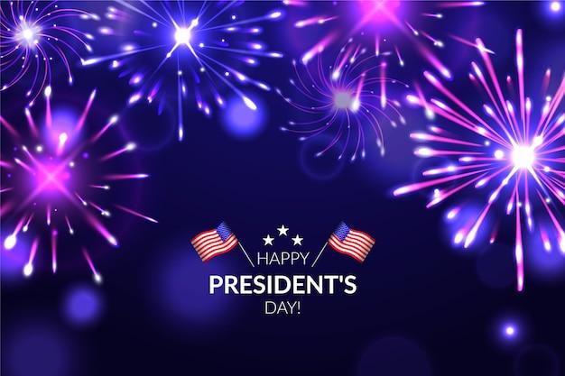 Fondo de fuegos artificiales del día del presidente