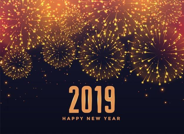 Fondo de fuegos artificiales feliz año nuevo 2019