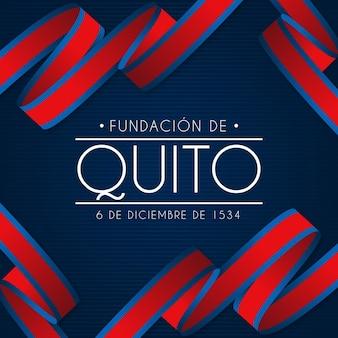 Fondo de la fundación de quito con bandera de cinta