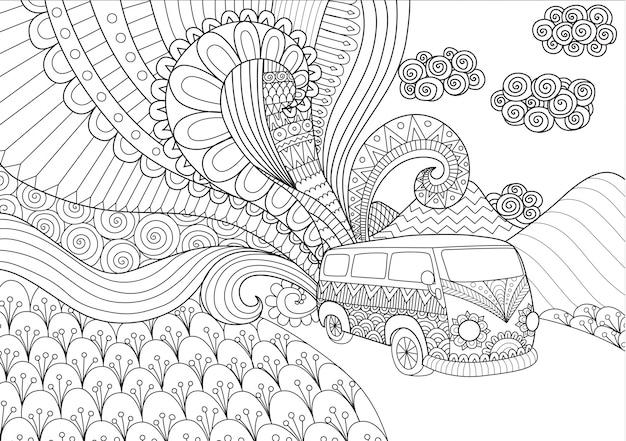 Fondo de furgoneta dibujada a mano