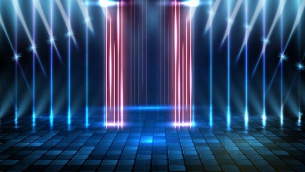 Fondo futurista abstracto del escenario vacío azul y fondo de escenario de foco de iluminación de neón