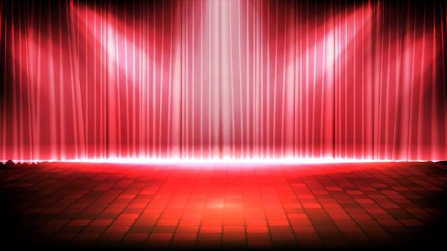 Fondo futurista abstracto del escenario vacío con cortina roja y fondo de escenario spotlgiht de iluminación