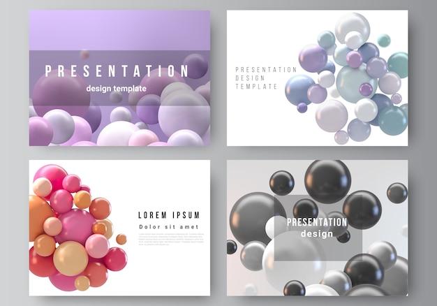 Fondo futurista abstracto con esferas de colores, burbujas brillantes, bolas.
