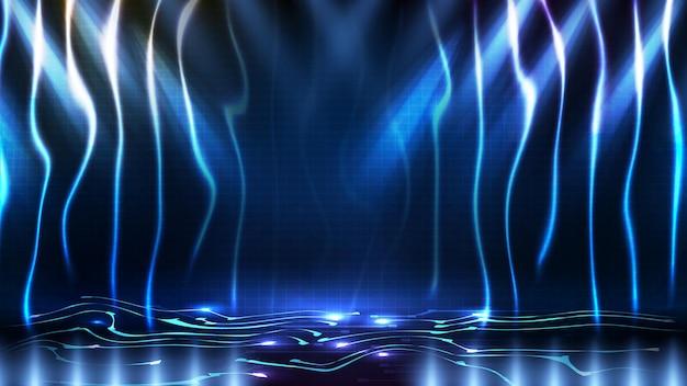 Fondo futurista abstracto de fondo de escenario azul vacío estadio arena spotlgiht