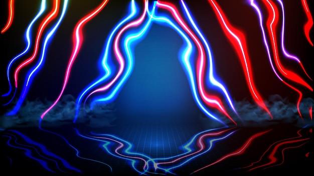 Fondo futurista abstracto del fondo del escenario de spotlgiht del estadio de la arena del escenario vacío