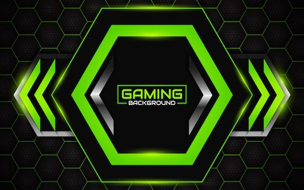 Fondo futurista abstracto de juego negro y verde