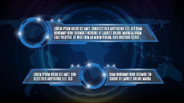 Fondo futurista abstracto del marco de ciencia ficción de tecnología azul, tema de interfaz de usuario de hud, barra de tercer botón inferior