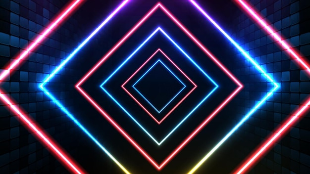 Fondo futurista abstracto de marco cuadrado de neón azul y fondo de escenario de iluminación spotlgiht