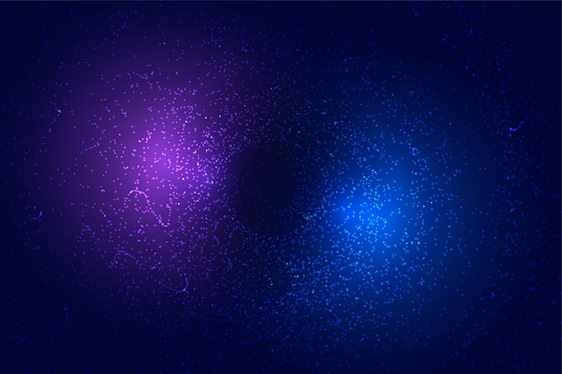 Fondo futurista abstracto con partículas azules y púrpuras