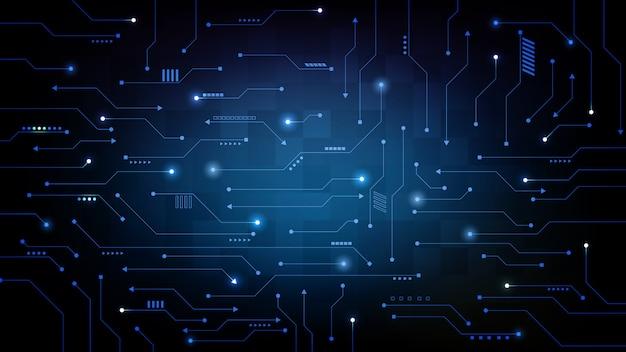 Fondo futurista abstracto de placa de circuito impreso azul, concepto de ciencia ficción